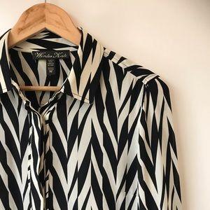 Winter Kate 100% Silk Zebra Blouse w/Hand Beading